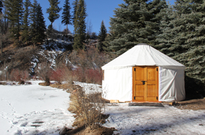 Yurt in snow